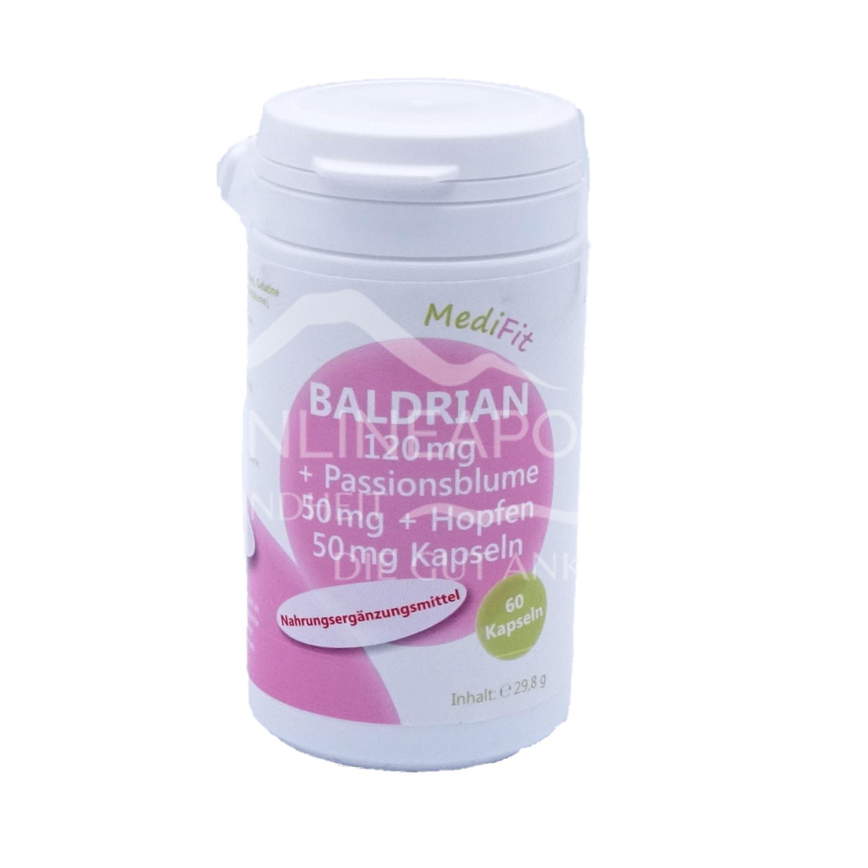 Baldrian 120 mg + Passionsblume 50 mg + Hopfen 50 mg Kapseln