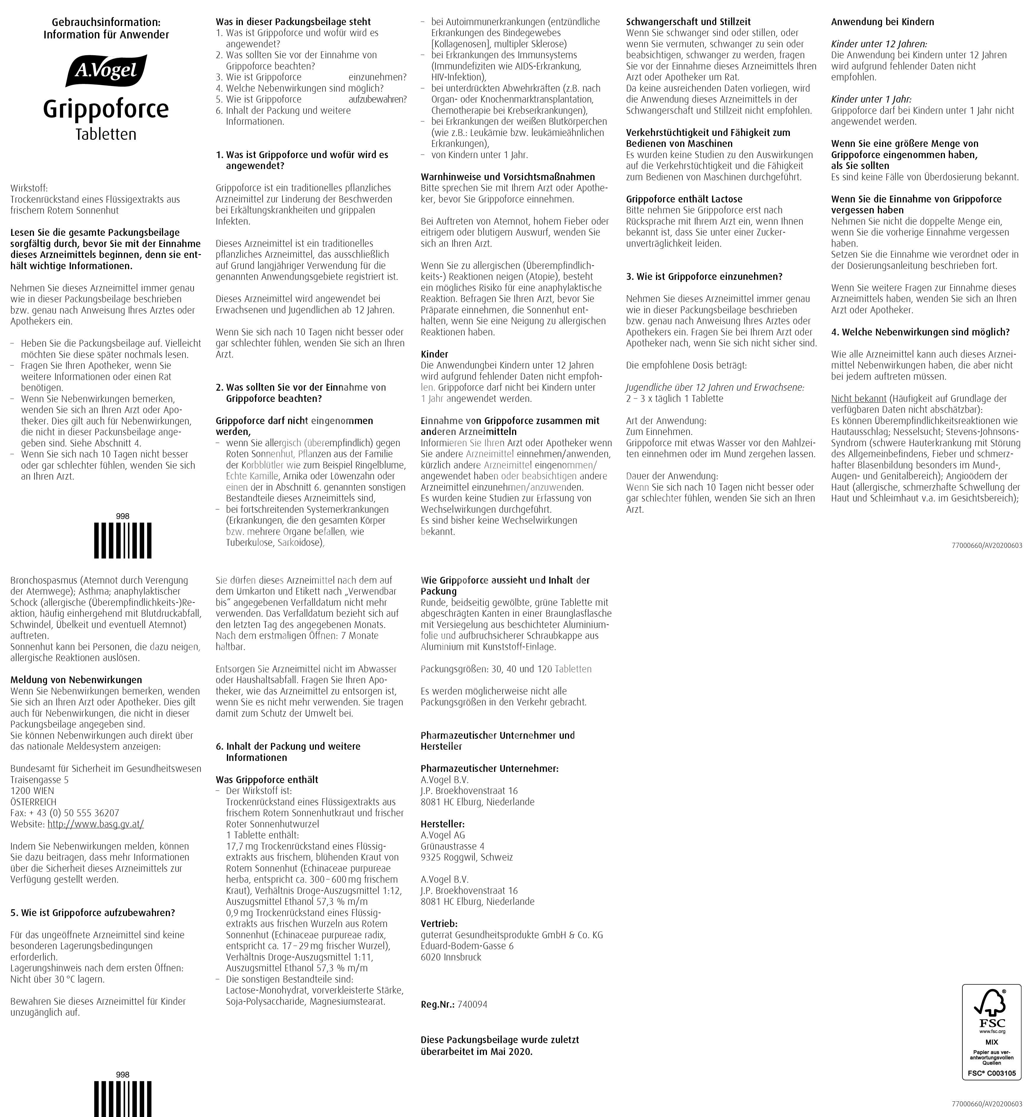 A.Vogel Grippoforce Tabletten