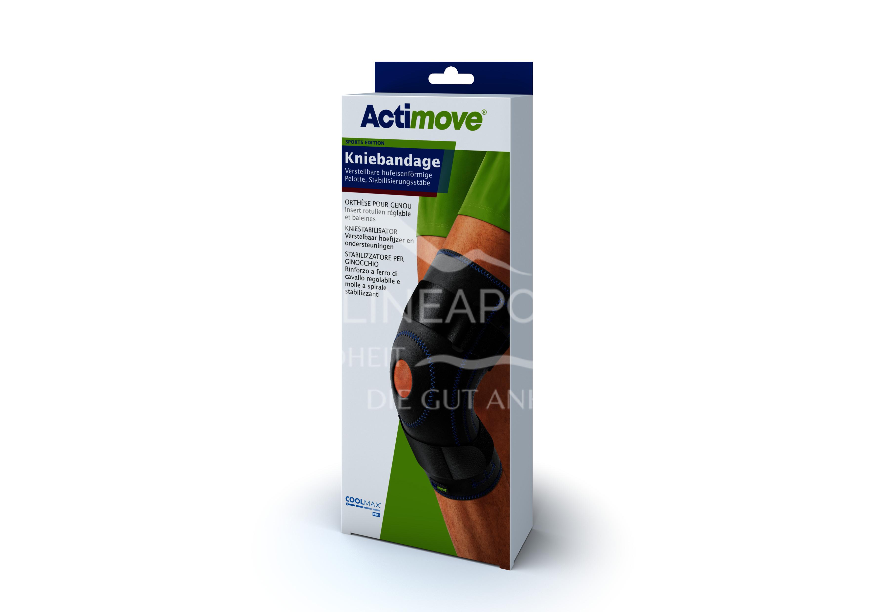 Actimove® Sport Edition Kniebandage Verstellbare hufeisenförmige Pelotte Größe L
