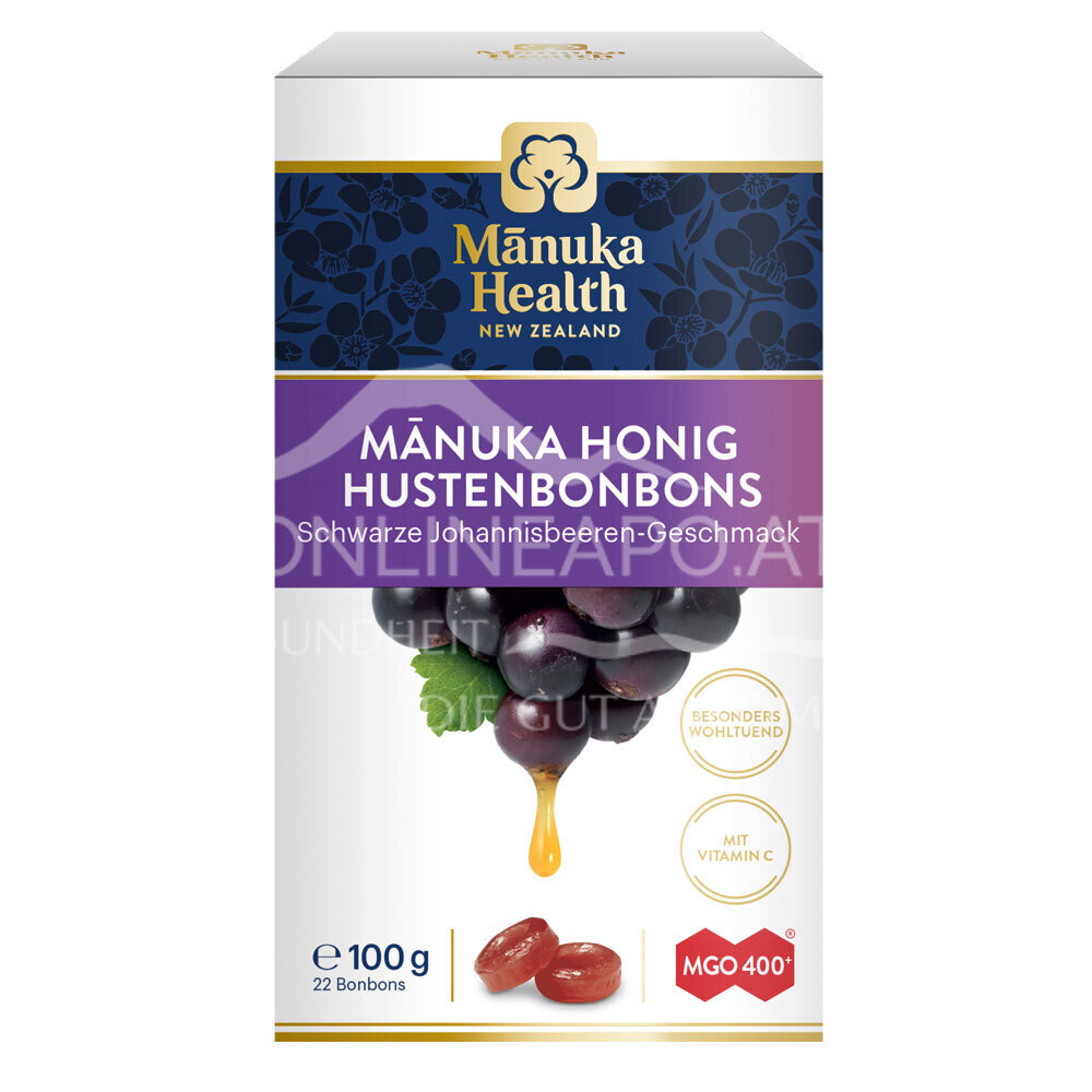 Mānuka Health Hustenbonbons schwarze Johannisbeere MGO 400+