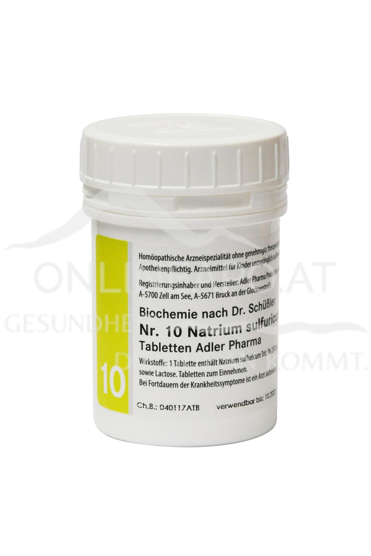 Schüßler Salz Adler Nr. 10 Natrium sulfuricum D6 Tabletten