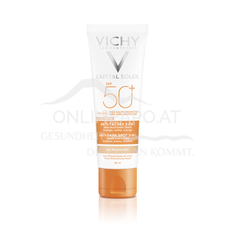 VICHY Idéal Soleil 3-in-1 getönte Sonnen-Pflege LSF 50+ Anti-Pigmentflecken