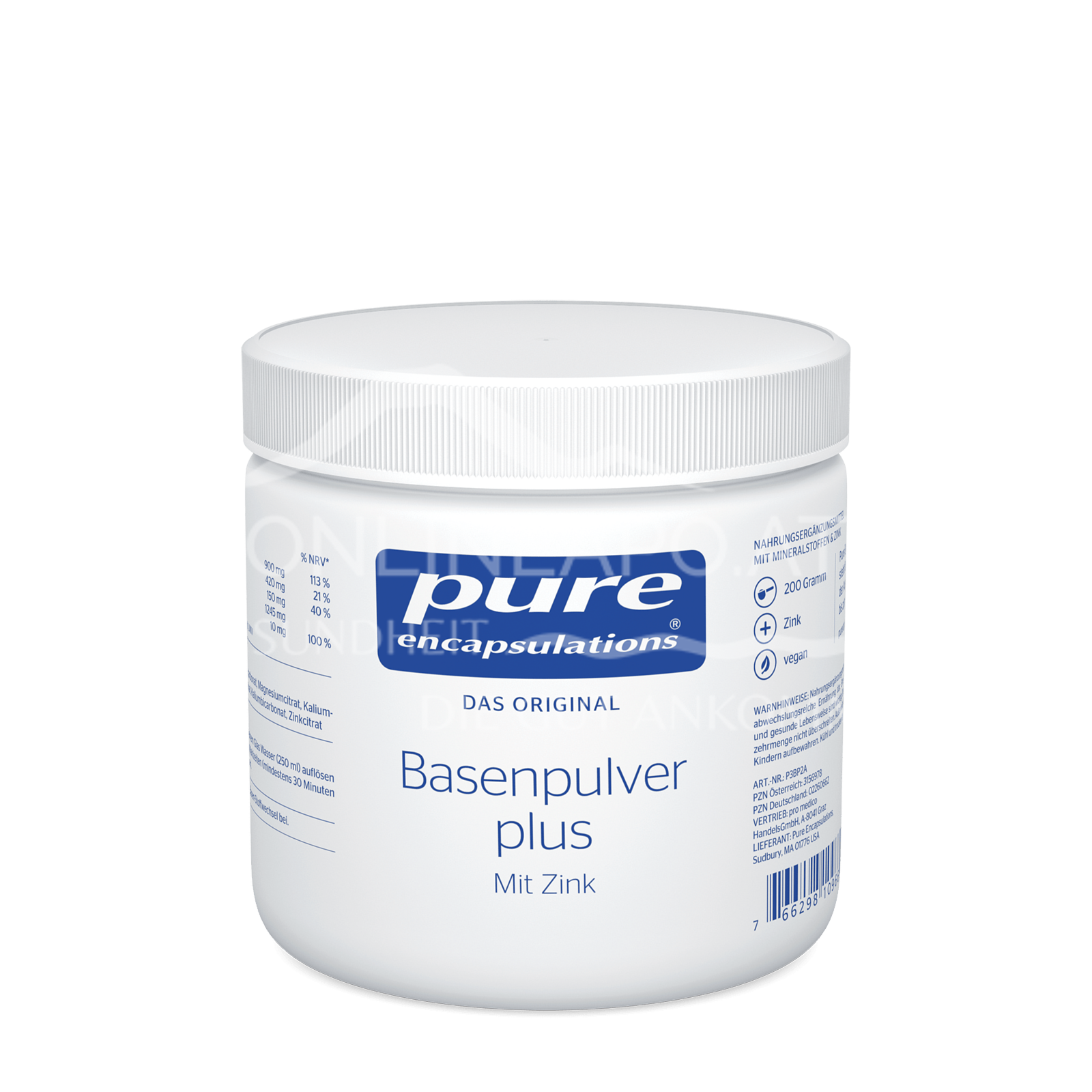 pure encapsulations® Basenpulver plus mit Zink