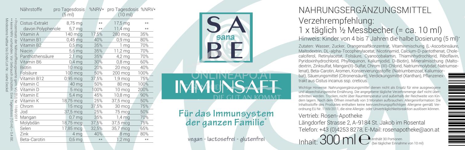 SABE sana Immun + Cistussaft