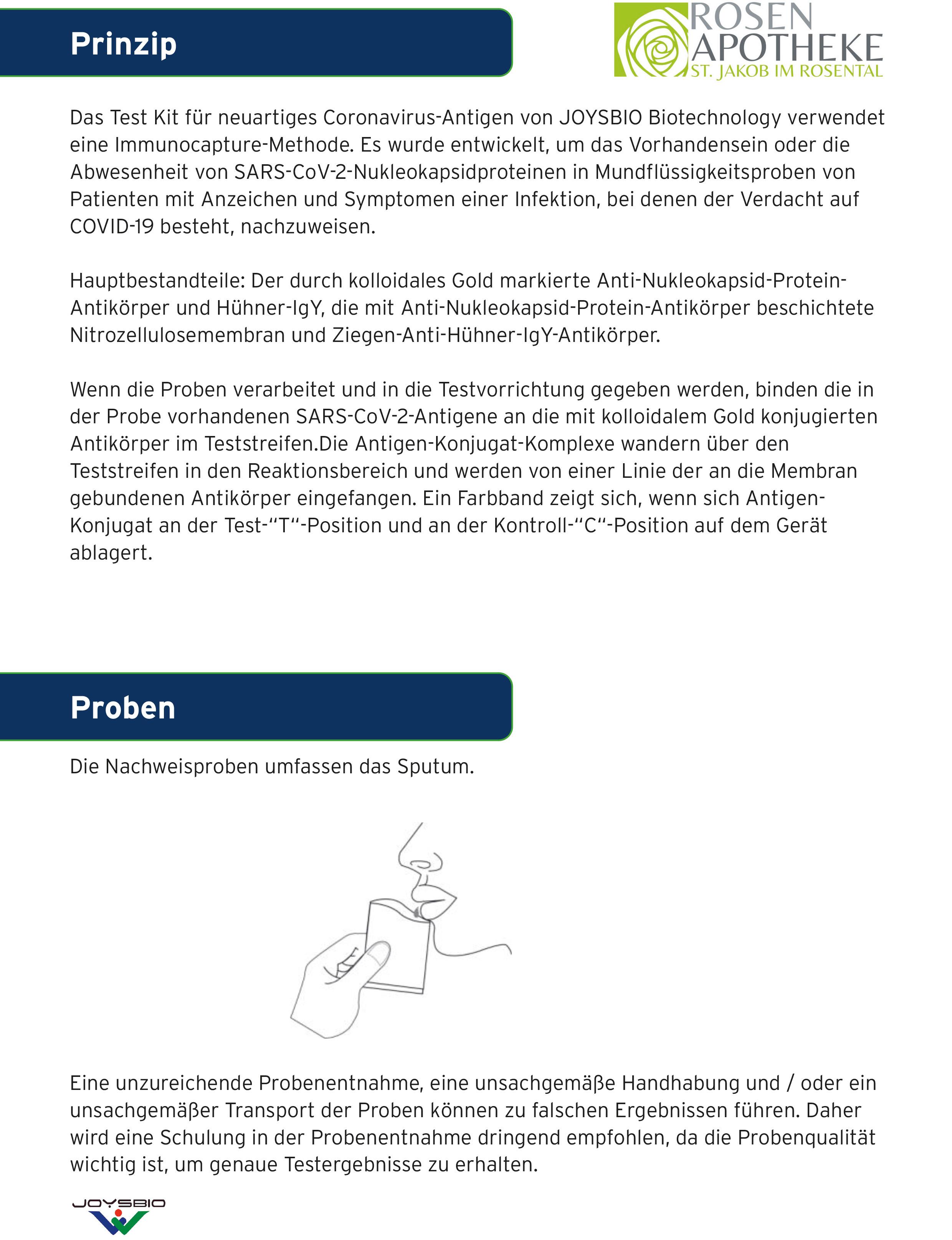Joysbio SARS-CoV-2 Antigen Saliva - Speichel-Schnelltest
