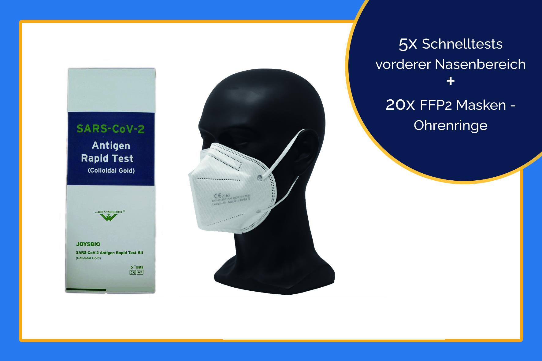 5x Schnelltests vorderer Nasenbereich + 20x FFP2 Masken - Ohrenringe