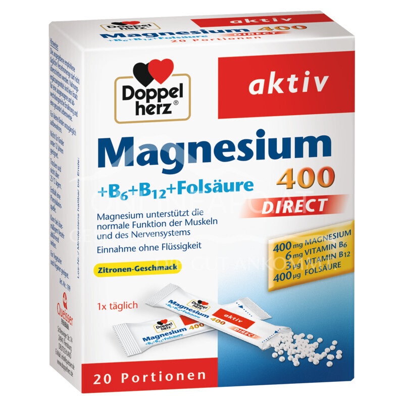 Doppelherz Magnesium 400 DIRECT + B6 + B12 + Folsäure Sticks