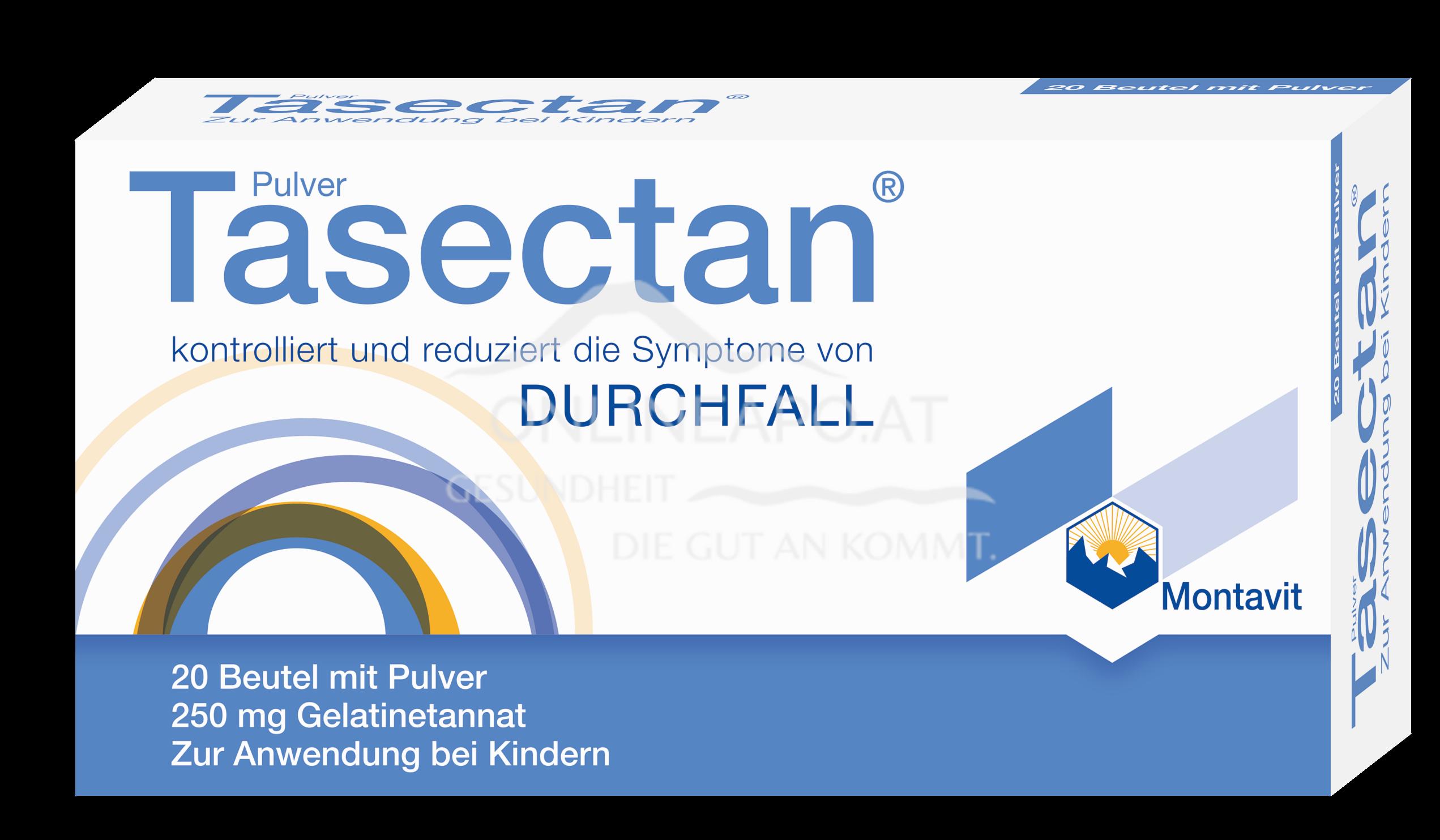 Tasectan Pulver in Beuteln für Kinder zu je 250 mg